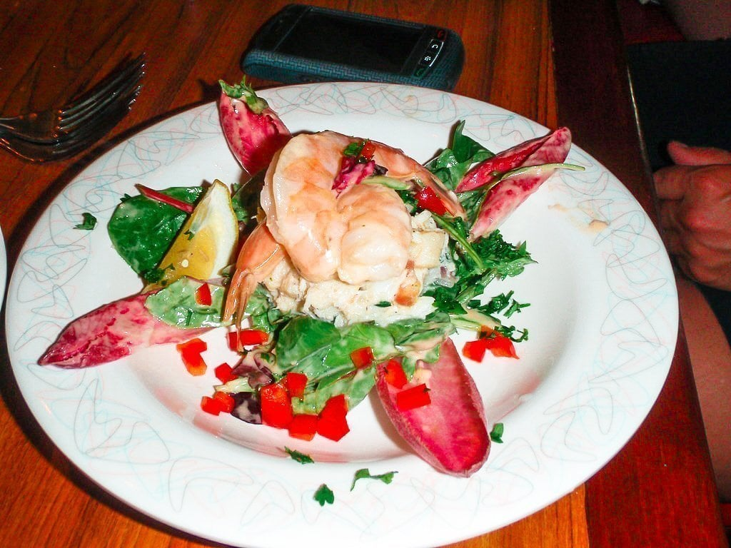 Aunt Annie's Seafood Salad on a white plate on the table