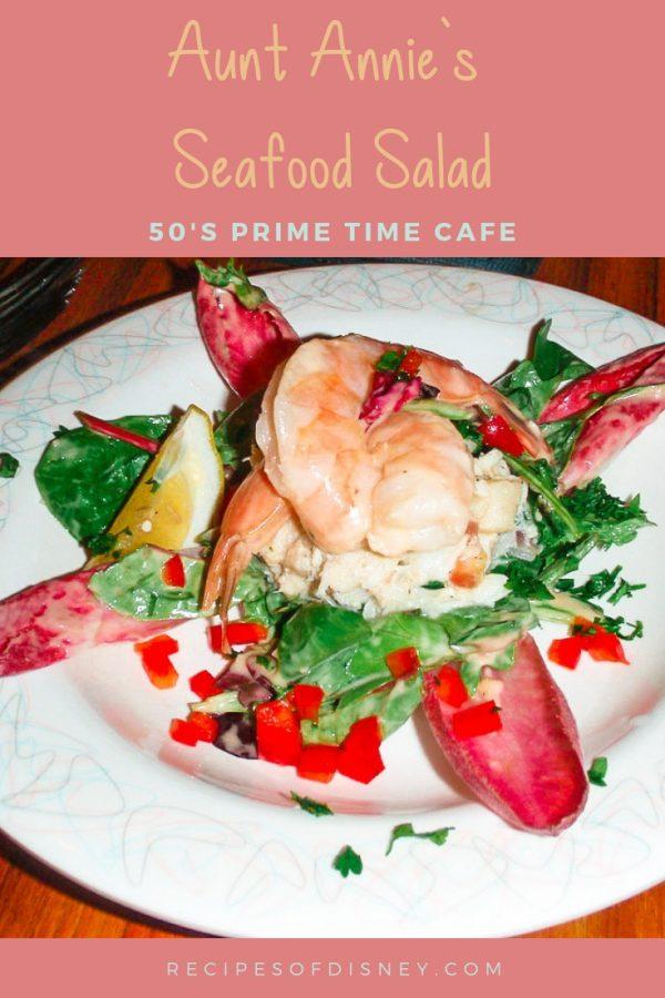 seafood salad on white plate title