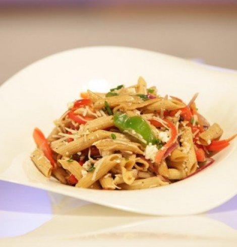 Pasta Salad with Feta, Fresh Vegetables, and Balsamic Vinaigrette- Crystal Palace