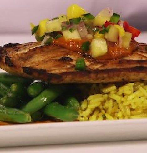 Jerk-Seared Mahi-Mahi with Ancho BBQ sauce, Tropical Salsa, Caribbean Rice & Green Beans- Shutters, Port Royale