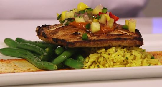 Jerk-Seared Mahi-Mahi with Ancho BBQ sauce, Tropical Salsa, Caribbean Rice & Green Beans- Shutters, Port Royale