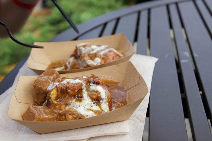 Potato Leek Waffle With Braised Beef